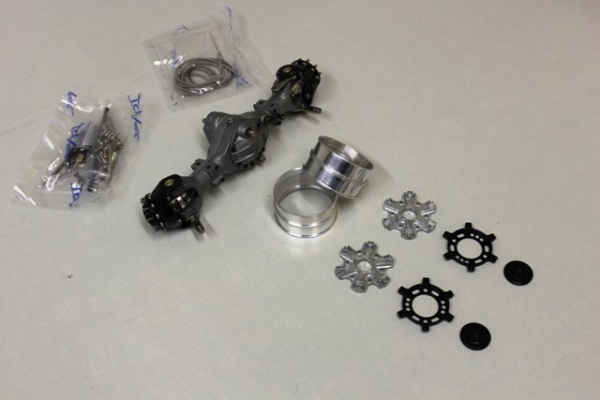 Front axle differential with second output 3:1 with Trilex 6-hole rim set wide