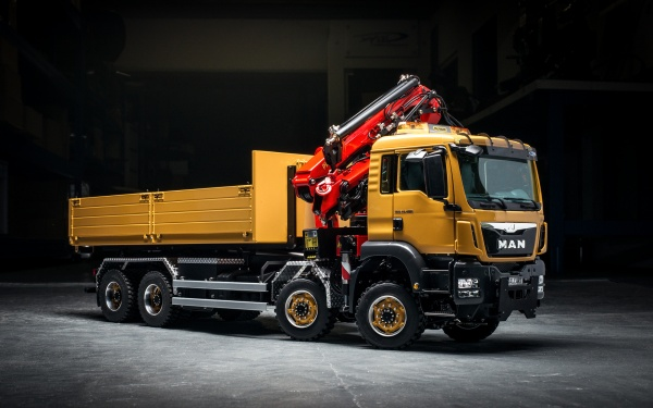MAN TGS 4-axle roll-off tipper Euro 6 Palfinger with loading crane