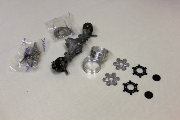 Front axle differential with second output 3:1 with Trilex 6-hole rim set narrow