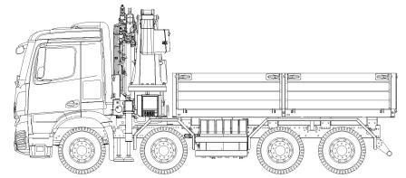 Mercedes Arocs 4-axle construction material train with Palfinger loading crane